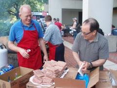Preparing the welcome back cookout food